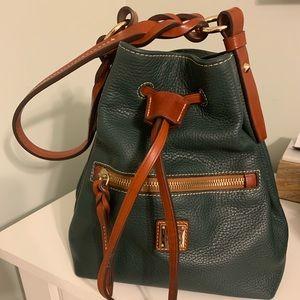Dooney & Bourke Green Pebble Leather Bucket Bag